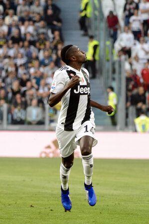 TURIN - OCT 20, 2018:  Blaise Matuidiruns forward. Juventus F.C. - Genoa C.F.C. Alliaz Stadium. Italian league Serie A.