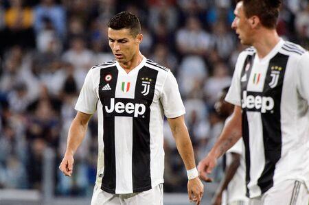 TURIN - OCT 20, 2018:  Cristiano Ronaldo looks down. Juventus F.C. - Genoa C.F.C. Alliaz Stadium. Italian league Serie A.
