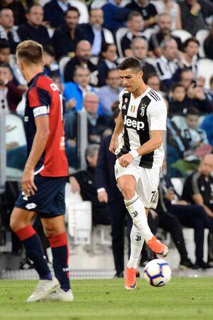 TURIN - OCT 20, 2018:  Cristiano Ronaldo gives a pass. Juventus F.C. - Genoa C.F.C. Alliaz Stadium. Italian league Serie A.