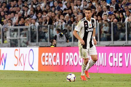 TURIN - OCT 20, 2018:  Cristiano Ronaldo controls the ball. Juventus F.C. - Genoa C.F.C. Alliaz Stadium. Italian league Serie A. Editorial