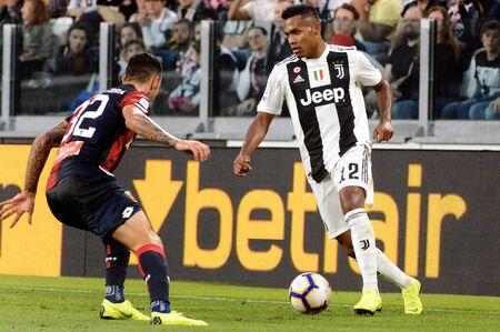 TURIN - OCT 20, 2018:  Alex Sandro controls the ball. Juventus F.C. - Genoa C.F.C. Alliaz Stadium. Italian league Serie A.