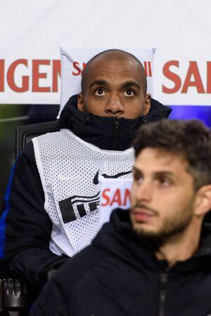 MILAN - OCT 21, 2018: Joao Mario (Inter). Substitutuions. FC Internazionale - AC Milan. San Siro stadium. Italian league Serie A.