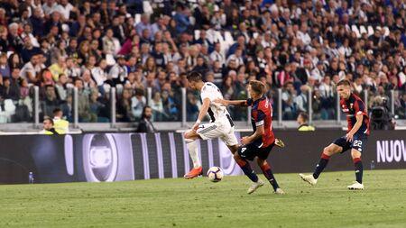 TURIN - OCT 20, 2018:  Cristiano Ronaldo controls the ball on speed. Juventus F.C. - Genoa C.F.C. Alliaz Stadium. Italian league Serie A. Editorial