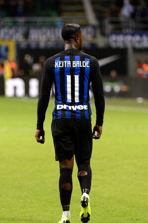 MILAN - OCT 21, 2018: Keita Balde (Inter) from behind. FC Internazionale - AC Milan. San Siro stadium. Italian league Serie A.