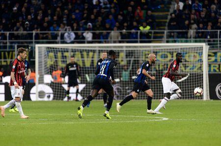 MILAN - OCT 21, 2018: Keita Balde (Inter) attacks. FC Internazionale - AC Milan. San Siro stadium. Italian league Serie A. Editorial