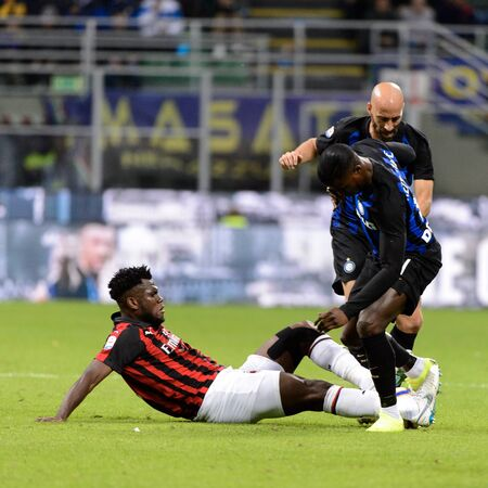 MILAN - OCT 21, 2018: Keita Balde (Inter) against Kessie. FC Internazionale - AC Milan. San Siro stadium. Italian league Serie A. Editorial