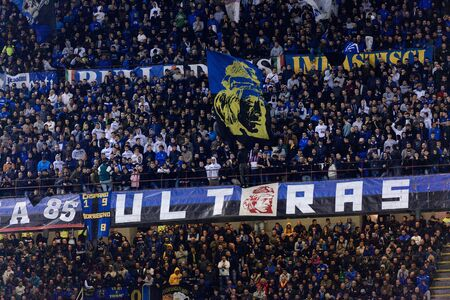 MILAN - OCT 21, 2018: Inter ultras. San Siro stadium before the derby FC Internazionale - AC Milan. Italian league Serie A.