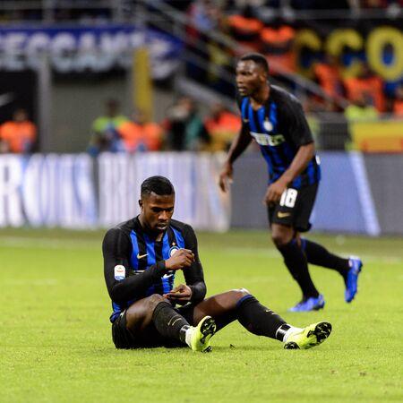 MILAN - OCT 21, 2018: Keita Balde (Inter) on the grass. FC Internazionale - AC Milan. San Siro stadium. Italian league Serie A.