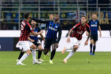 MILAN - OCT 21, 2018: Keita Balde (Inter) attacks. FC Internazionale - AC Milan. San Siro stadium. Italian league Serie A.