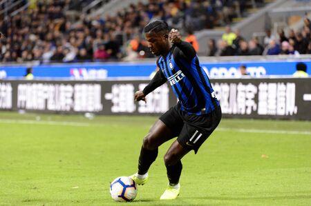MILAN - OCT 21, 2018: Keita Balde (Inter) shows his dribbling skills. FC Internazionale - AC Milan. San Siro stadium. Italian league Serie A.