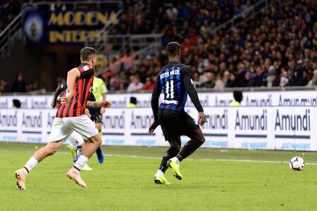 MILAN - OCT 21, 2018: Keita Balde (Inter) with the ball. FC Internazionale - AC Milan. San Siro stadium. Italian league Serie A. Editorial