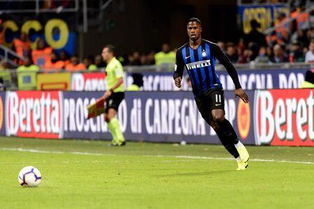 MILAN - OCT 21, 2018: Keita Balde (Inter) controls the ball. FC Internazionale - AC Milan. San Siro stadium. Italian league Serie A.