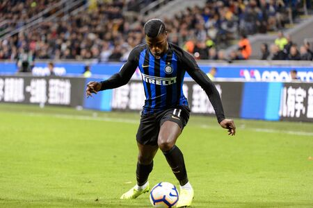 MILAN - OCT 21, 2018: Keita Balde (Inter) shows his dribbling skills. FC Internazionale - AC Milan. San Siro stadium. Italian league Serie A. Editorial