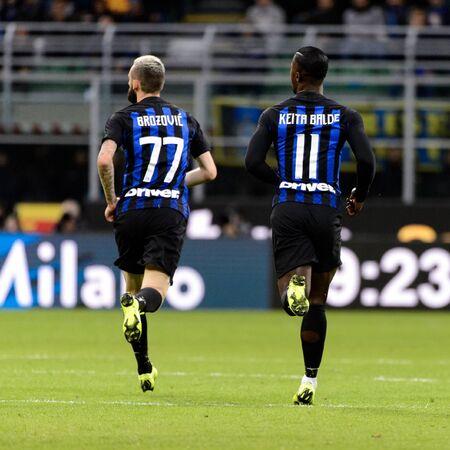 MILAN - OCT 21, 2018: Marcelo Brozovic (Inter) and Keita run. FC Internazionale - AC Milan. San Siro stadium. Italian league Serie A.