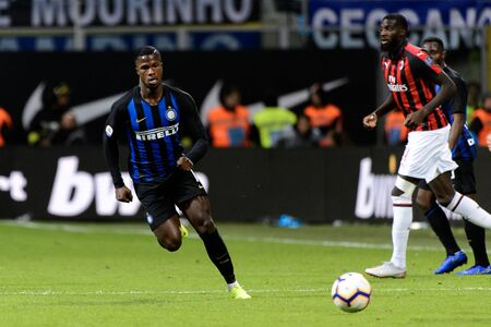 MILAN - OCT 21, 2018: Keita Balde (Inter). FC Internazionale - AC Milan. San Siro stadium. Italian league Serie A. Editorial
