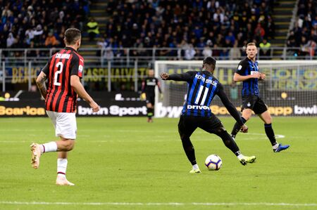 MILAN - OCT 21, 2018: Keita Balde (Inter) with the ball. FC Internazionale - AC Milan. San Siro stadium. Italian league Serie A.