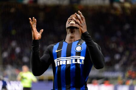 MILAN - OCT 21, 2018: Keita Balde (Inter) is deissapointed after no goal. FC Internazionale - AC Milan. San Siro stadium. Italian league Serie A.