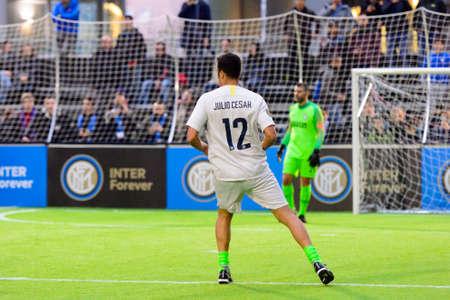 Milan - Nov 6, 2018: Julio Cesar in attack. Friendly match Inter Forever - Barca Legends