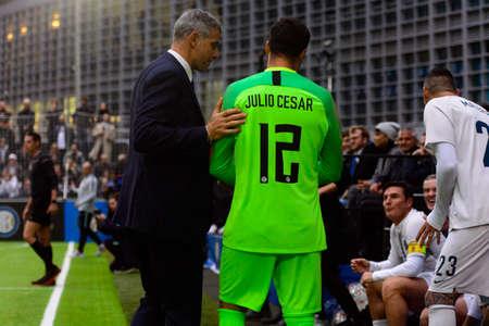 Milan - Nov 6, 2018: Julio Cesar. Friendly match Inter Forever - Barca Legends Editorial
