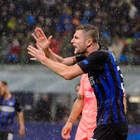 Milan - Nov 6, 2018: Milan Skriniar 37 emotionally reacts. FC Internazionale - FC Barcelona. UEFA Champions League. Matchday 4. Giuseppe Meazza (San Siro) stadium. Éditoriale