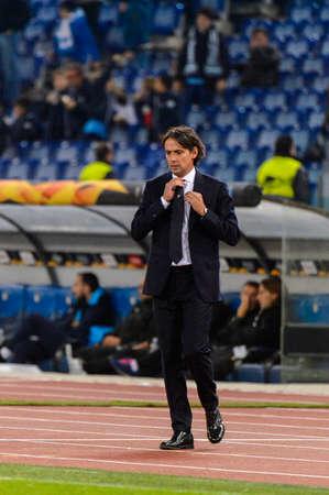 ROME - NOV 8, 2018: Simone Inzaghi manager. SS Lazio - Olympique Marseille. UEFA Europe League. Stadio Olimpico.