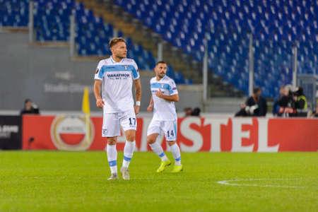 ROME - NOV 8, 2018: Ciro Immobile 17. SS Lazio - Olympique Marseille. UEFA Europe League. Stadio Olimpico.