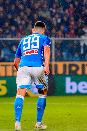 GENOVA - NOV 10, 2018: Arkadiusz Milik 99. C.F.C Genoa - SSC Napoli. Calcio Serie A TIM. Stadium Luigi Ferraris.