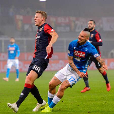 GENOVA - NOV 10, 2018: Marek Hamsik 17 shoots on goal. C.F.C Genoa - SSC Napoli. Calcio Serie A TIM. Stadium Luigi Ferraris.