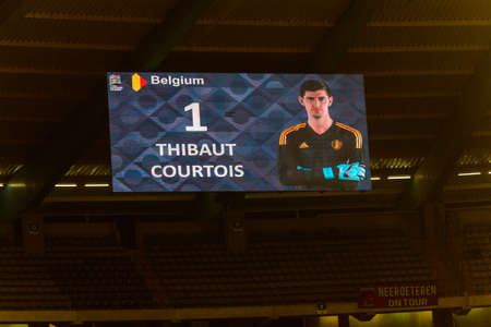 BRUSSELS - NOV 15, 2018: Thibaut Courtois 1. Belgium - Iceland. UEFA Nations League.