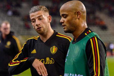 BRUSSELS - NOV 15, 2018: Vincent Kompany 4 close up portrait. Belgium - Iceland. UEFA Nations League. 新闻类图片