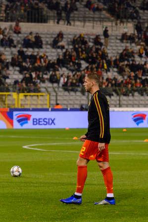 BRUSSELS - NOV 15, 2018: Toby Alderweireld 2. Belgium - Iceland. UEFA Nations League.