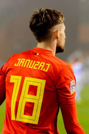 BRUSSELS - NOV 15, 2018: Adnan Januzaj 18 close up portrait. Belgium - Iceland. UEFA Nations League.