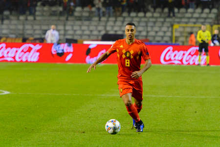 BRUSSELS - NOV 15, 2018: Youri Tielemans 8 controls the ball.  Belgium - Iceland. UEFA Nations League.