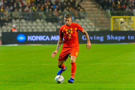 BRUSSELS - NOV 15, 2018: Toby Alderweireld 2 with a ball. Belgium - Iceland. UEFA Nations League. 新闻类图片