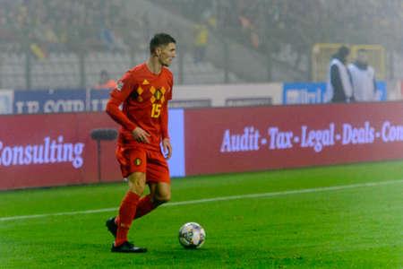 BRUSSELS - NOV 15, 2018: Thomas Meunier 15. Belgium - Iceland. UEFA Nations League.