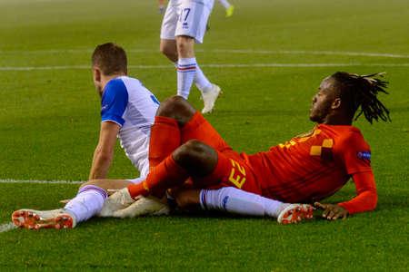 BRUSSELS - NOV 15, 2018: Michy Batshuayi 23 on the ground.  Belgium - Iceland. UEFA Nations League.