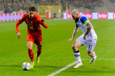 BRUSSELS - NOV 15, 2018: Adnan Januzaj 18 controls the ball. Belgium - Iceland. UEFA Nations League.