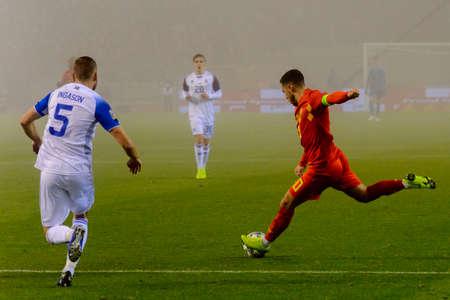 BRUSSELS - NOV 15, 2018: Eden Hazard 10 shoots on goal.  Belgium - Iceland. UEFA Nations League.
