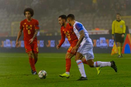 BRUSSELS - NOV 15, 2018: Eden Hazard 10.  Belgium - Iceland. UEFA Nations League. 新闻类图片