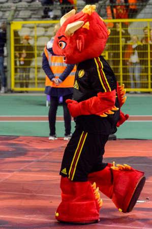 BRUSSELS - NOV 15, 2018: Devil mascot. Belgium - Iceland. UEFA Nations League.