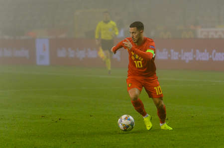 BRUSSELS - NOV 15, 2018: Eden Hazard 10 controls the ball.  Belgium - Iceland. UEFA Nations League.