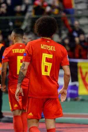 BRUSSELS - NOV 15, 2018: Axel Witsel 6 from behind. Belgium - Iceland. UEFA Nations League.