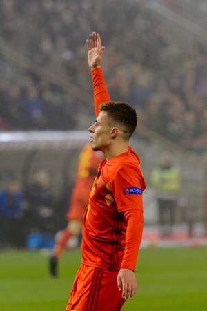 BRUSSELS - NOV 15, 2018: Thorgan Hazard 16. Belgium - Iceland. UEFA Nations League. 新闻类图片
