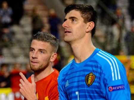 BRUSSELS - NOV 15, 2018: Thibaut Courtois 1 portrait. Belgium - Iceland. UEFA Nations League.