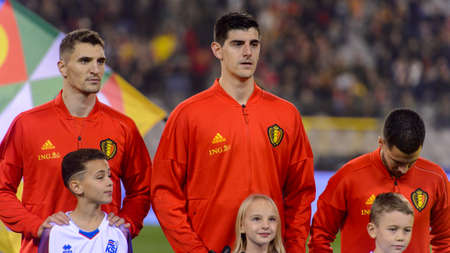 BRUSSELS - NOV 15, 2018: Thibaut Courtois 1 listens the anthem. Belgium - Iceland. UEFA Nations League.