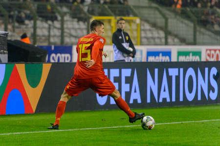 BRUSSELS - NOV 15, 2018: Thomas Meunier 15 controls the ball. Belgium - Iceland. UEFA Nations League.