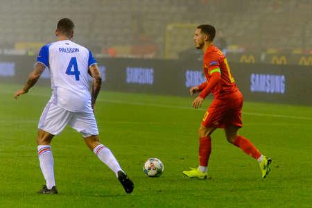 BRUSSELS - NOV 15, 2018: Eden Hazard 10 in attack.  Belgium - Iceland. UEFA Nations League.