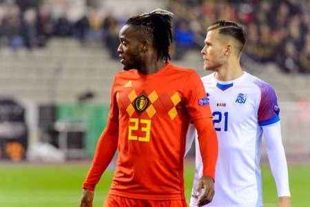 BRUSSELS - NOV 15, 2018: Michy Batshuayi 23 close up portrait.  Belgium - Iceland. UEFA Nations League.
