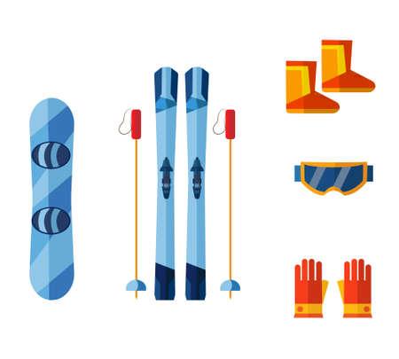 Ski Resort. Vector illustrations. Snowboard.