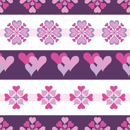 Pink Valentine Heart Seamless Pattern Background Print Illustration
